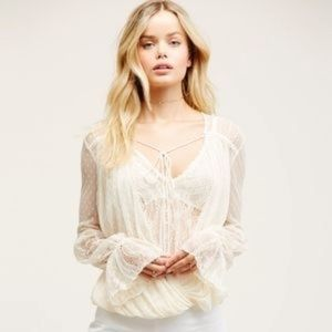 Free People Lace Far Away Layered Top Ivory L